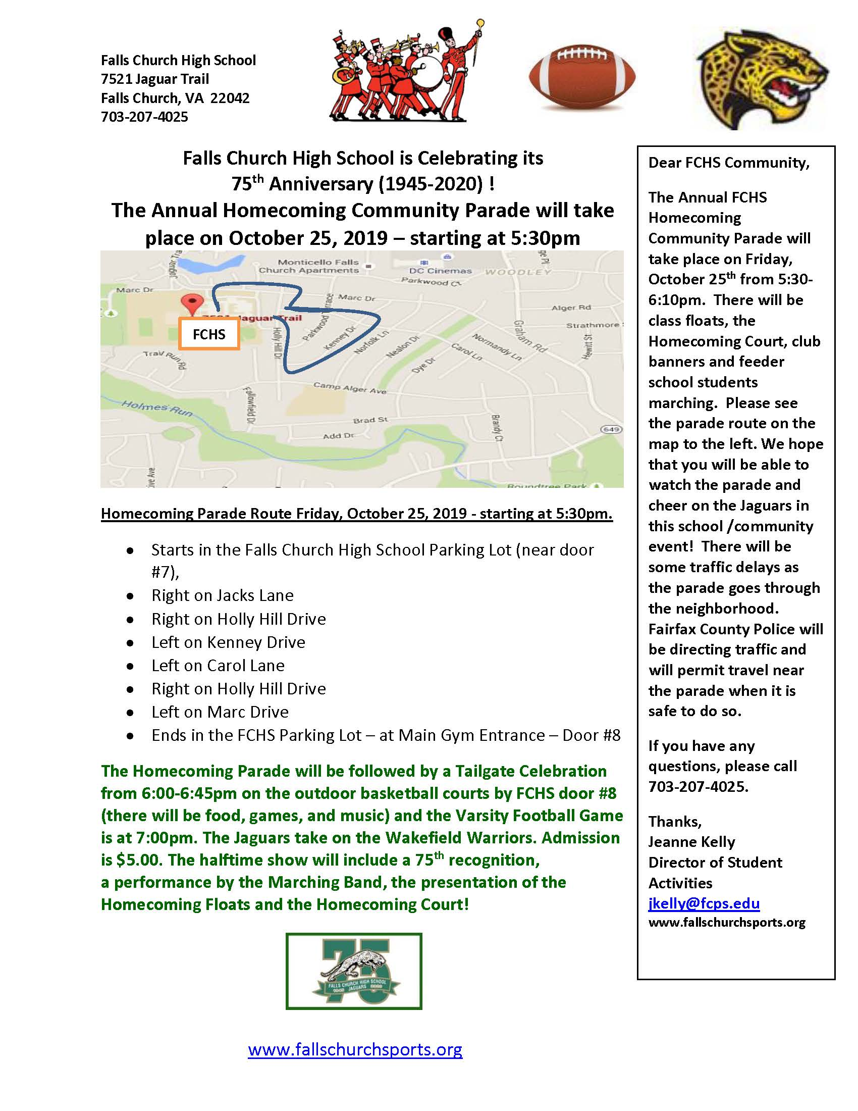Homecoming Parade Route 2019 Community Letter